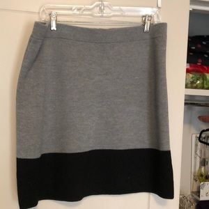 Grey and black color block skirt